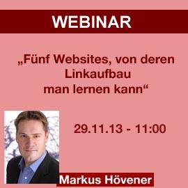 """Letzte Chance auf Teilnahme an Webinar """"Fünf Websites, von deren Linkaufbau man lernen kann"""""""