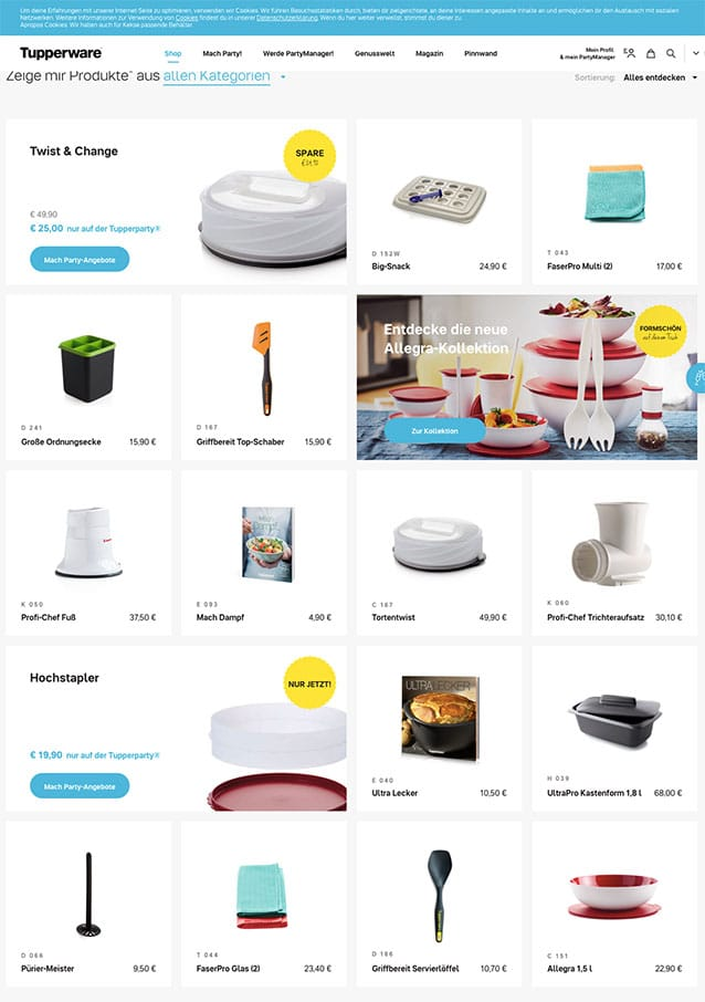 Tupperware.de Online Shop