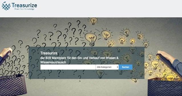Treasurize – der B2B Online Marktplatz für den Ein- und Verkauf von Wissen und Wissensaustausch (Anzeige)